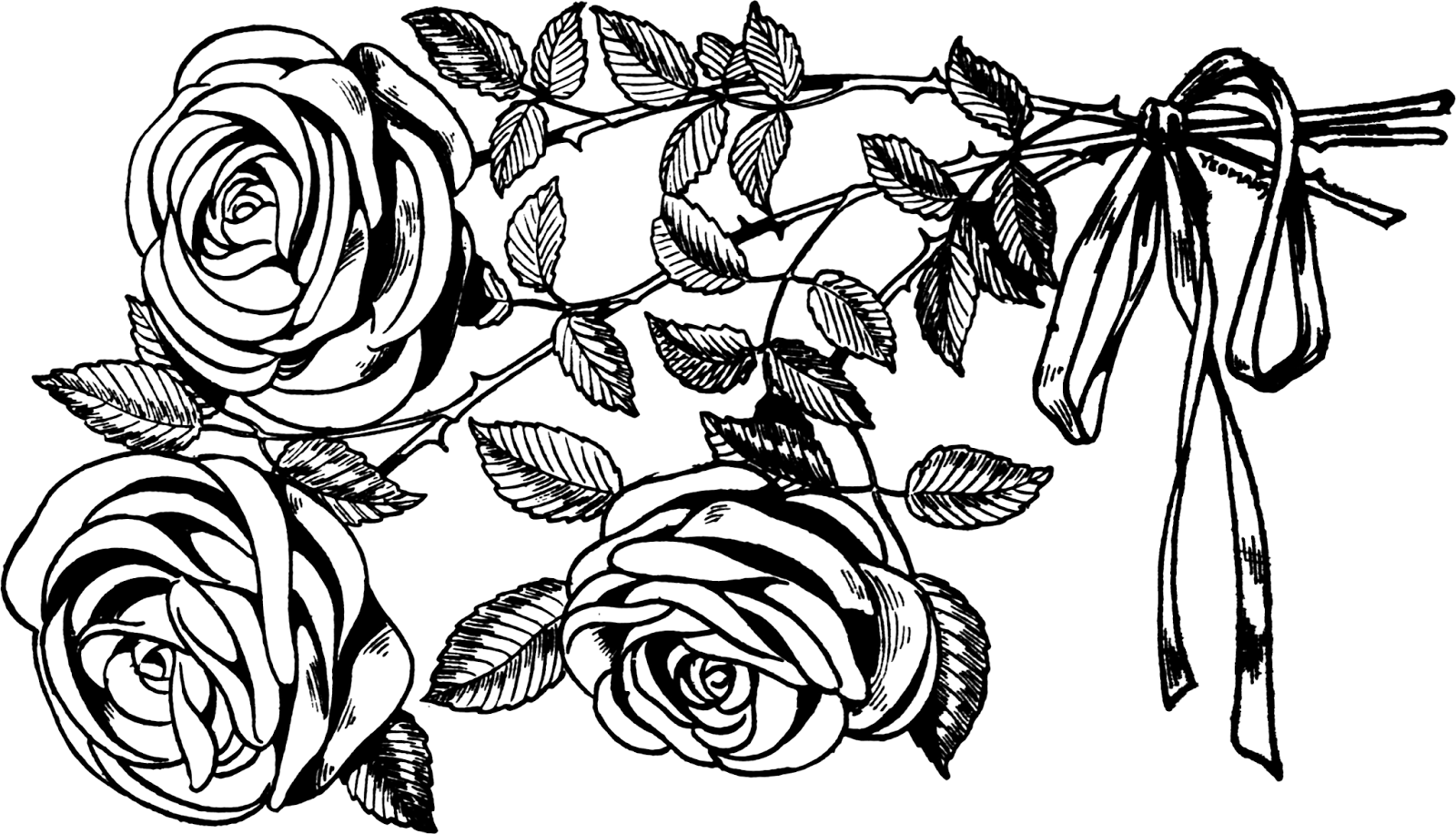 Rose losing petals clipart black and white banner library stock Vintage Snips and Clips: Black and White Illustration of ... banner library stock