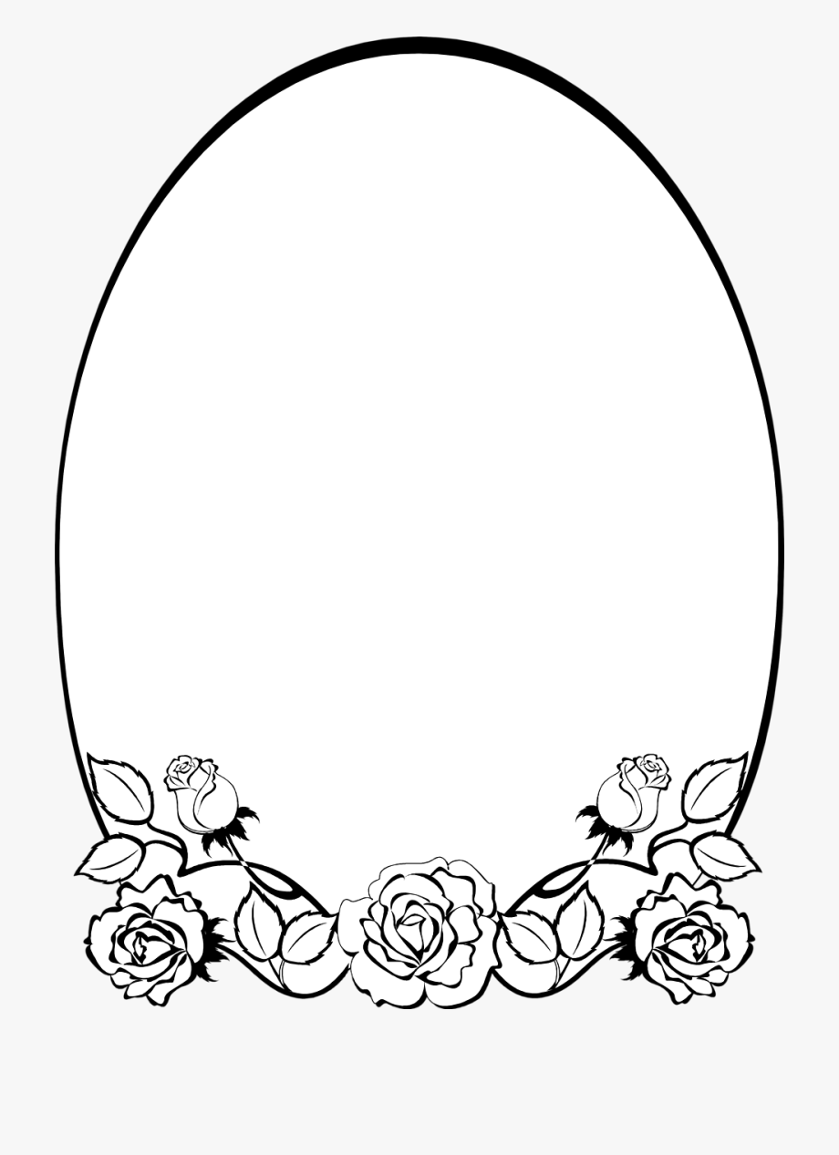 Rose oval frame clipart black and white royalty free library Printable Frames Borders For Free Illuminated Music - Flower ... royalty free library