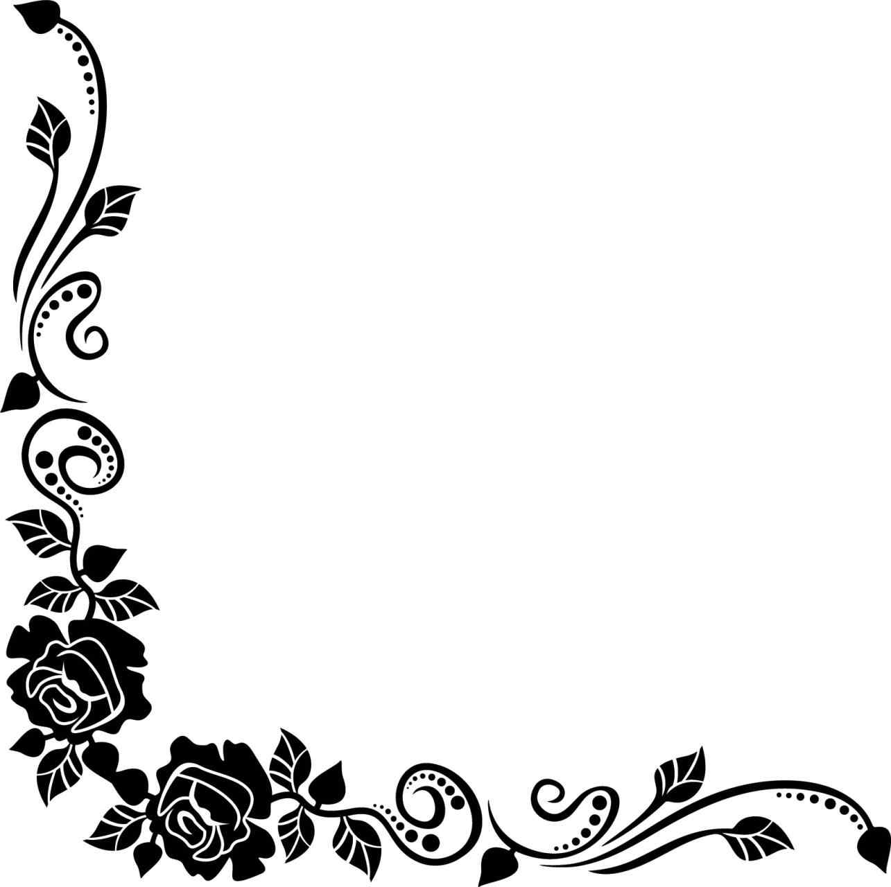 White flowers corner border clipart svg black and white library Flower Frame Clipart Black And White | Free download best ... svg black and white library