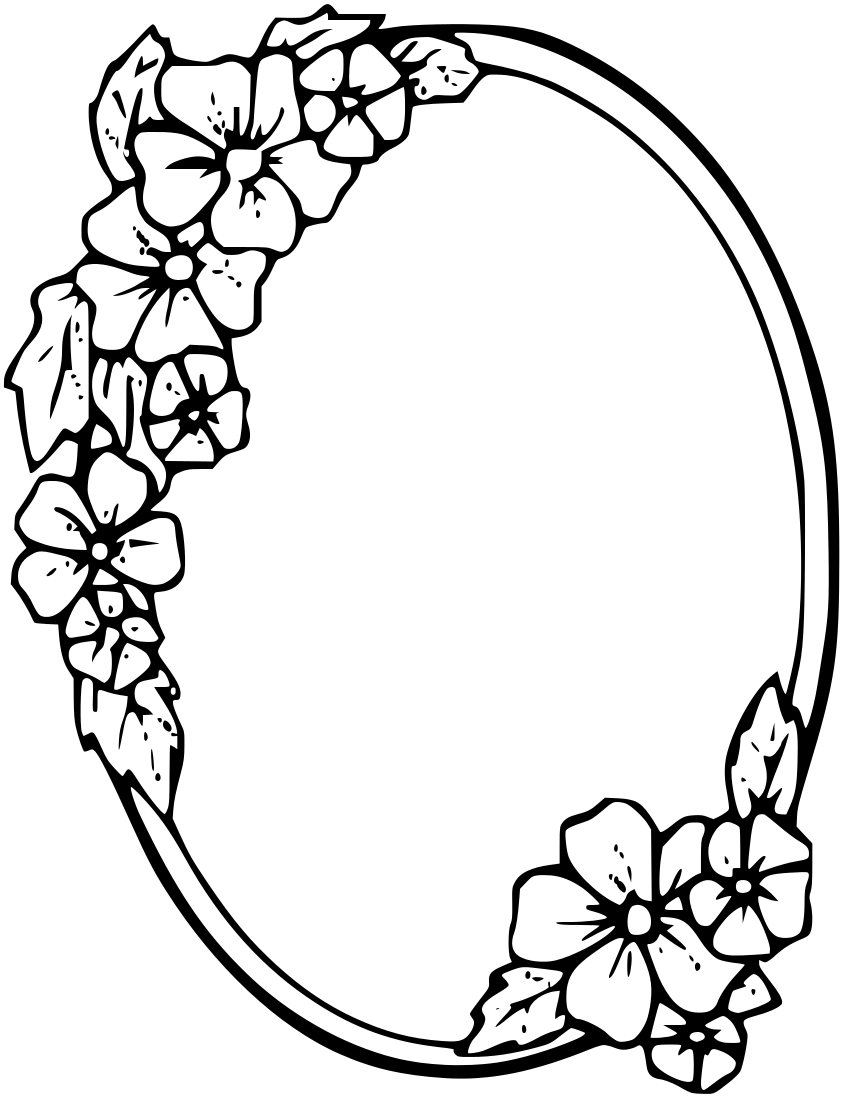 Rose oval frame clipart black and white graphic free library Flower Frame Clipart Black And White | Free download best ... graphic free library
