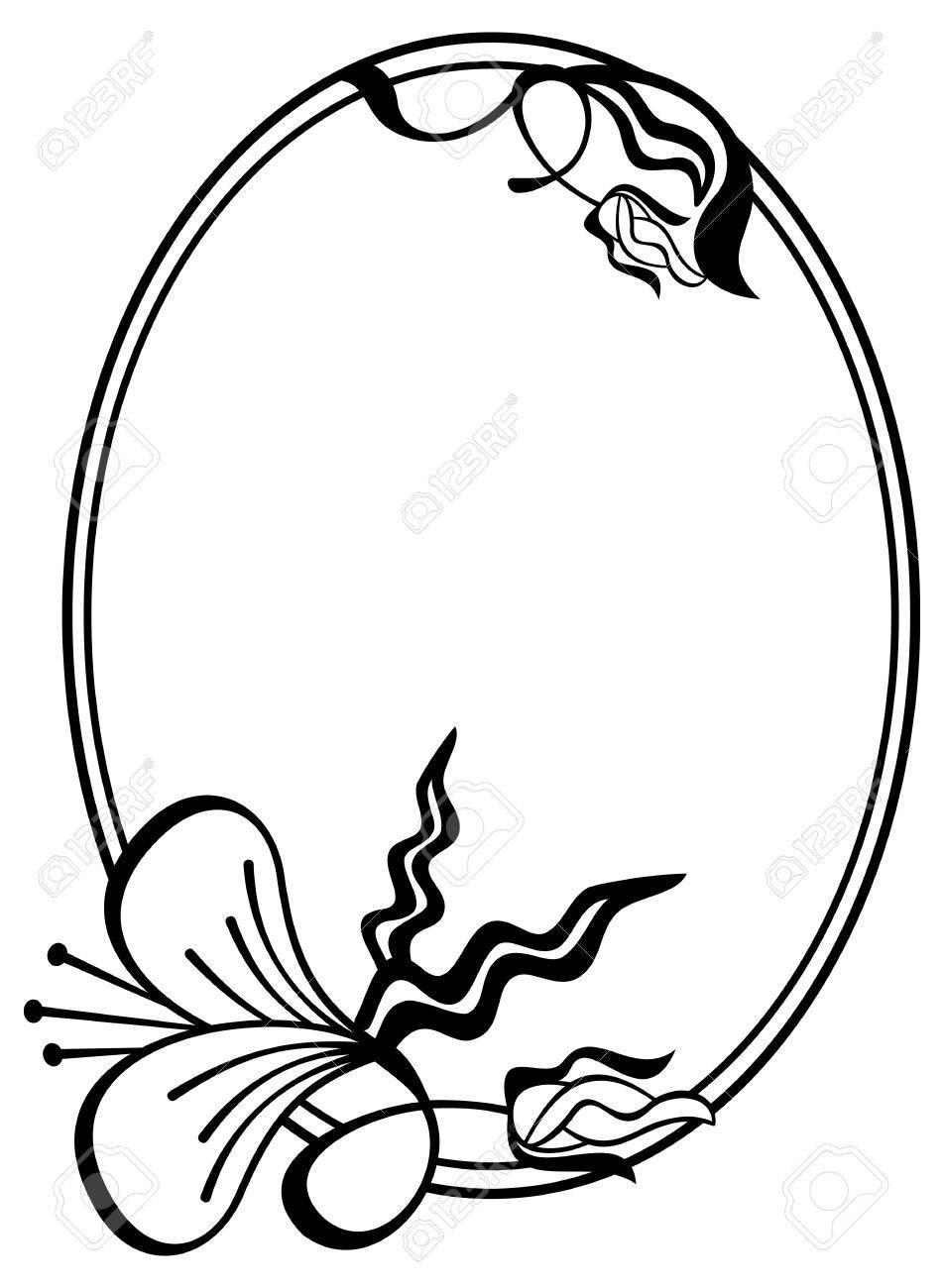 Rose oval frame clipart black and white freeuse download Oval Frame Clipart | Free download best Oval Frame Clipart ... freeuse download