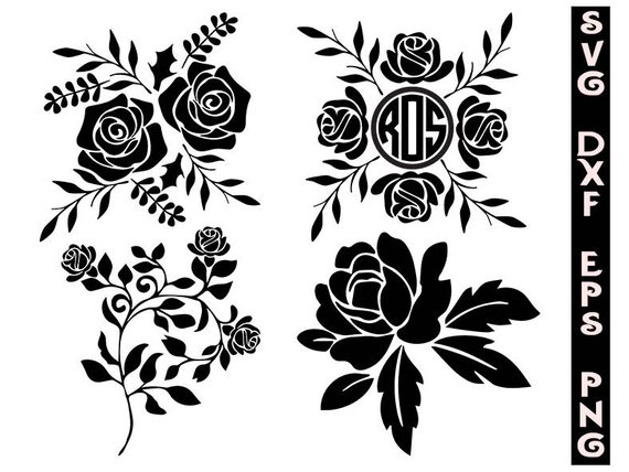 Rose pattern clipart image stock Silhouette roses svg, roses clipart, flowers svg, cut files ... image stock