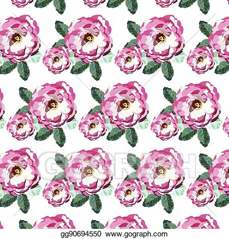 Rose pattern clipart clipart black and white download Vector Clipart - Watercolor pink roses pattern. Vector ... clipart black and white download
