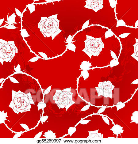 Rose pattern clipart picture black and white stock Vector Art - White on red seamless rose sari pattern ... picture black and white stock