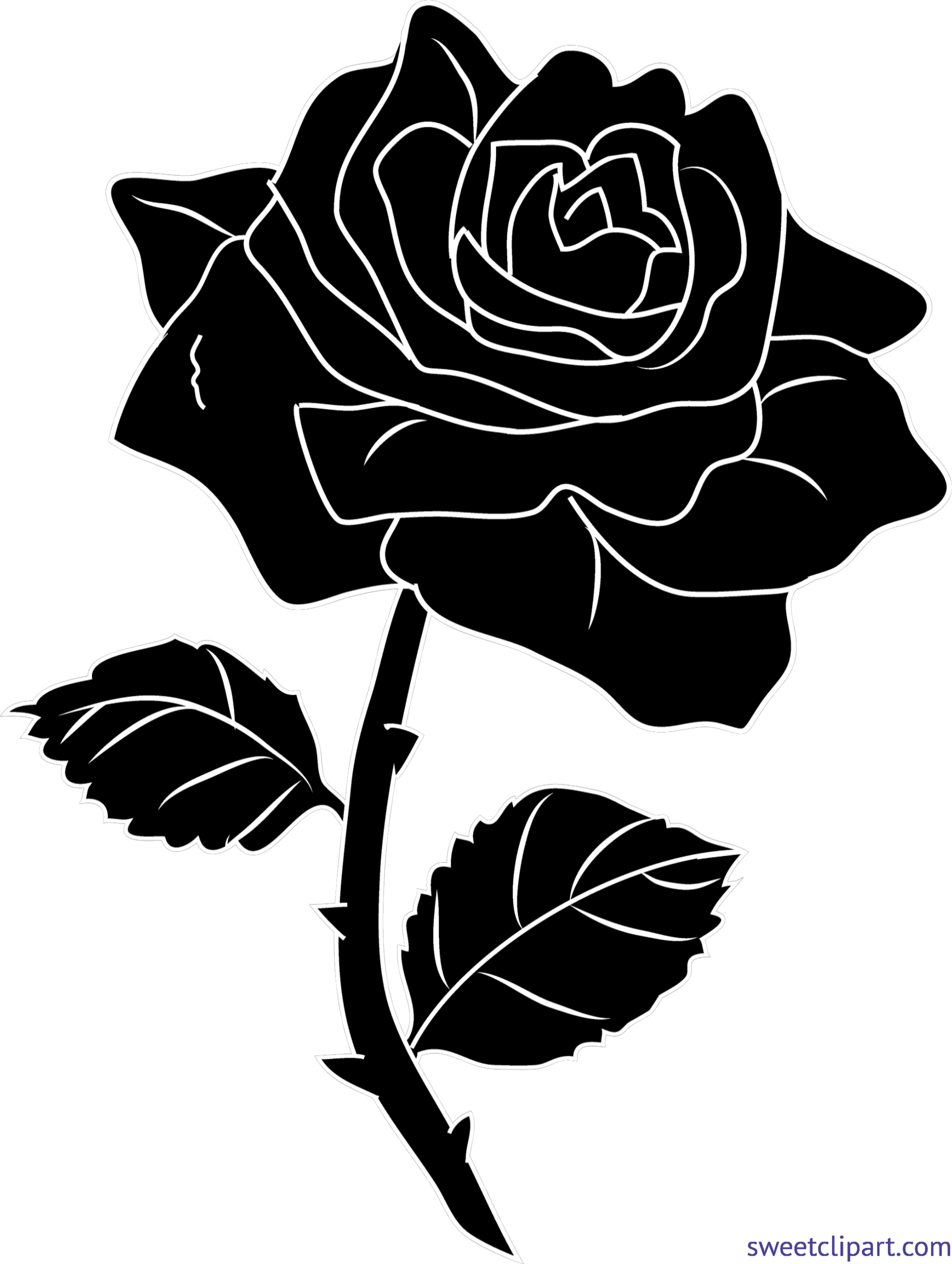 Rose silhouette clipart svg freeuse stock Rose 3 Silhouette Clip Art - Sweet Clip Art svg freeuse stock