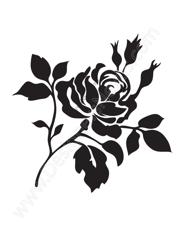 Rose vector clipart picture royalty free V14 Free Rose Vector Graphic Stencil Clip Art - Designers Nexus picture royalty free