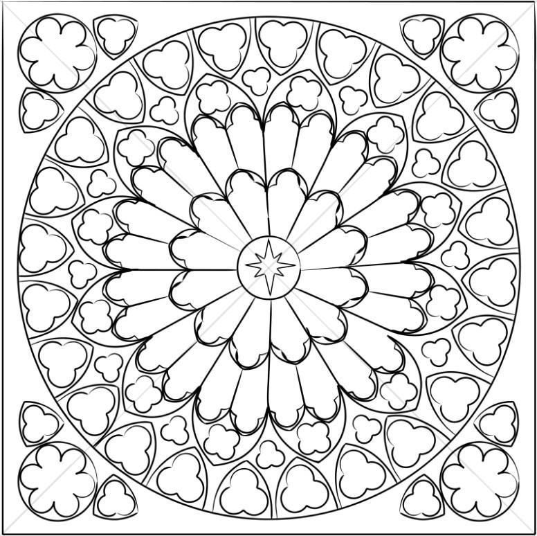 Rose window clipart svg transparent Black and White Rose Window | Sanctuary Clipart svg transparent