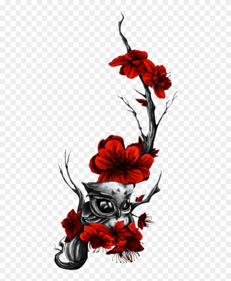 Rose with owl clipart clip art transparent stock Owl And Rose Tattoo Designs For Females Clipart (#4154655 ... clip art transparent stock