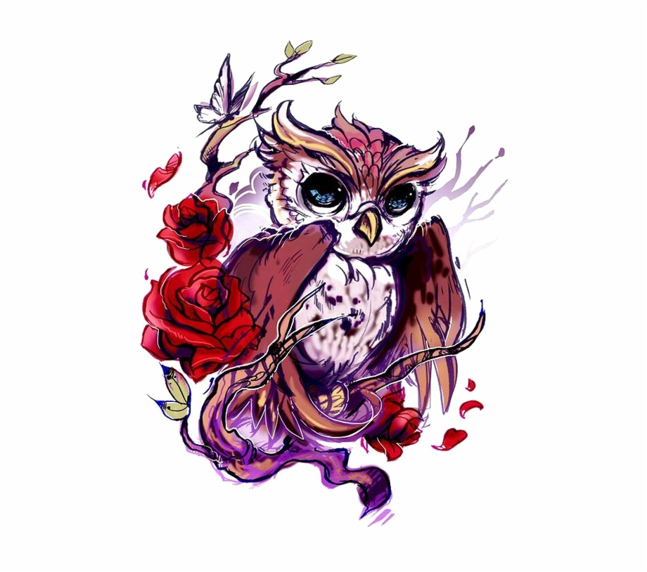 Rose with owl clipart jpg black and white download Flash Owl Artist Rose Tattoo Hd Image Free Png Clipart - Owl ... jpg black and white download
