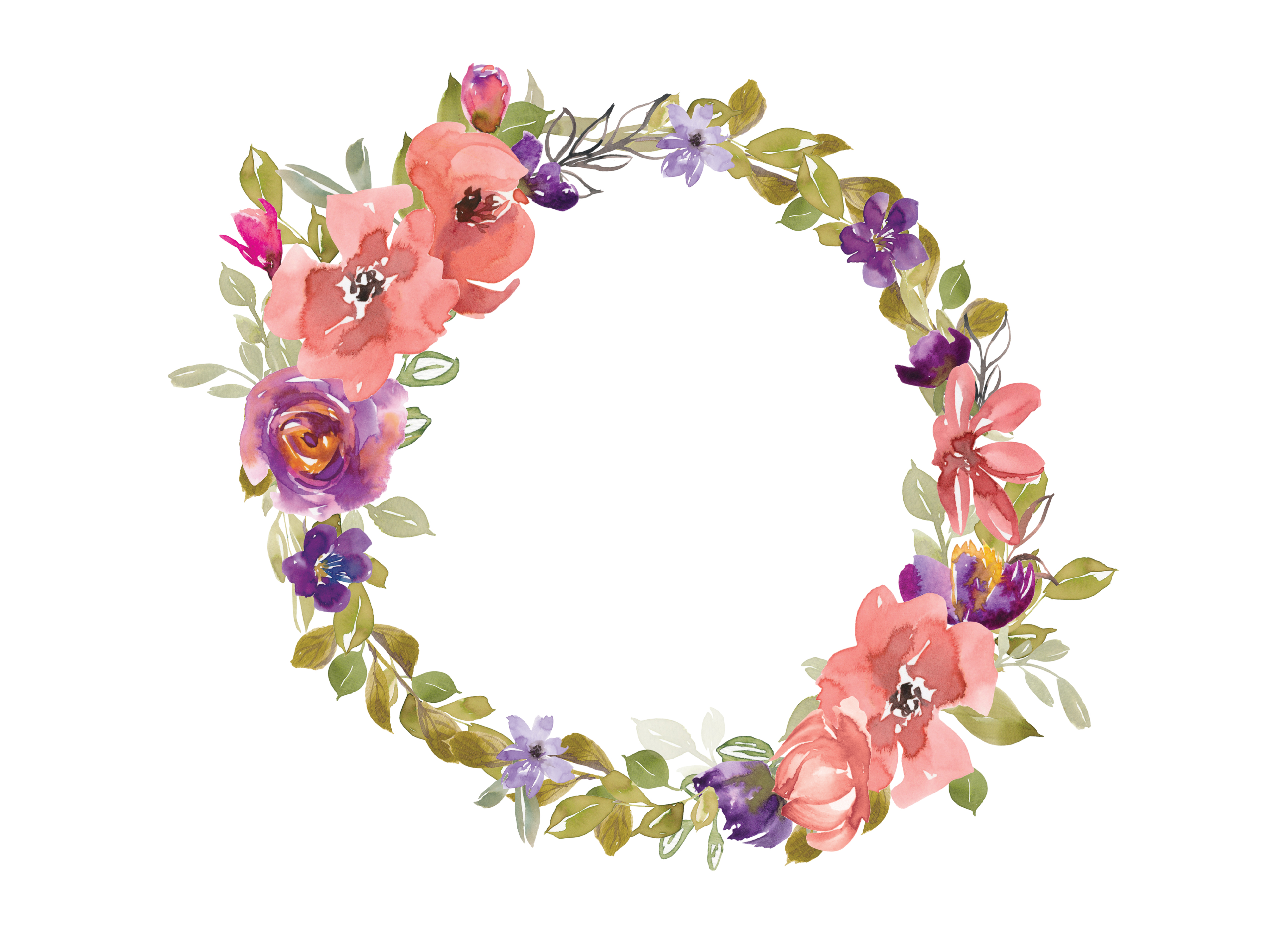 Rose wreath clipart svg library stock Watercolor Salmon and Purple Flowers Wreath svg library stock