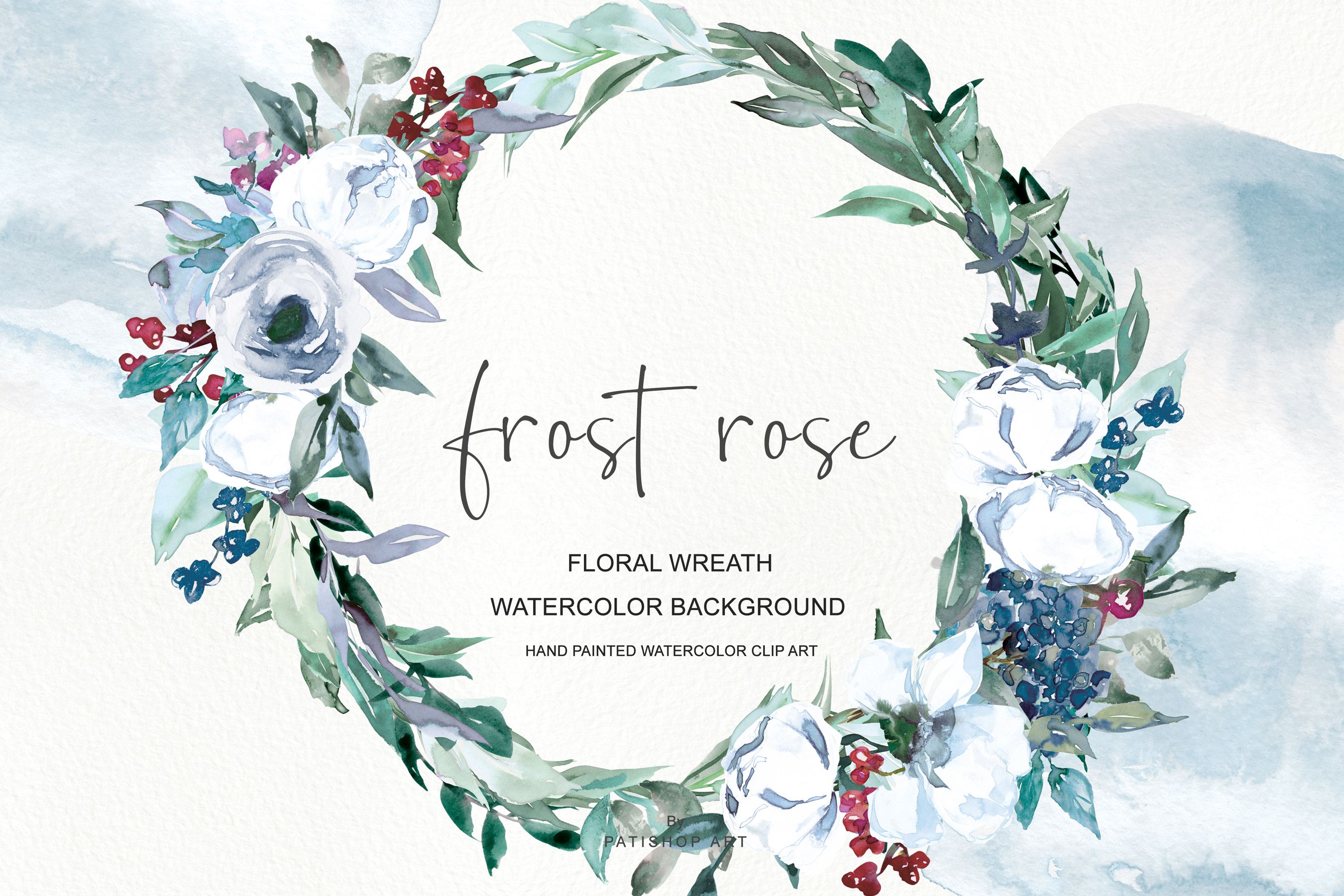 Rose wreath clipart png transparent stock Watercolor White Rose Wreath Clipart png transparent stock