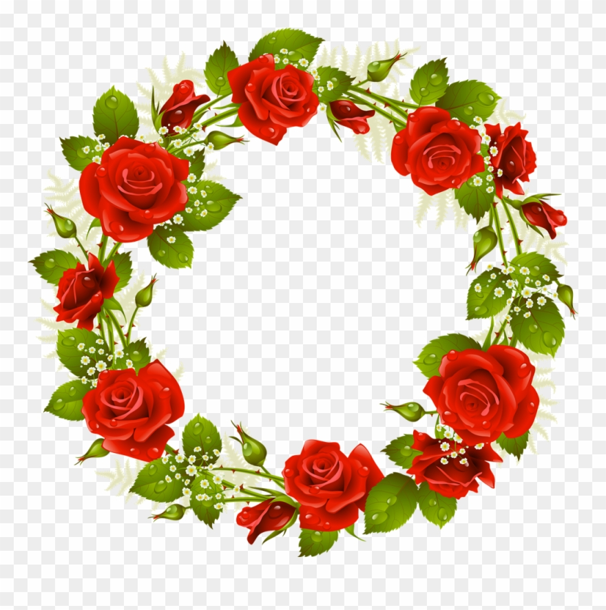 Rose wreath clipart png transparent download Garden Clipart Wreath - Red Rose Wreath Clip Art - Png ... png transparent download