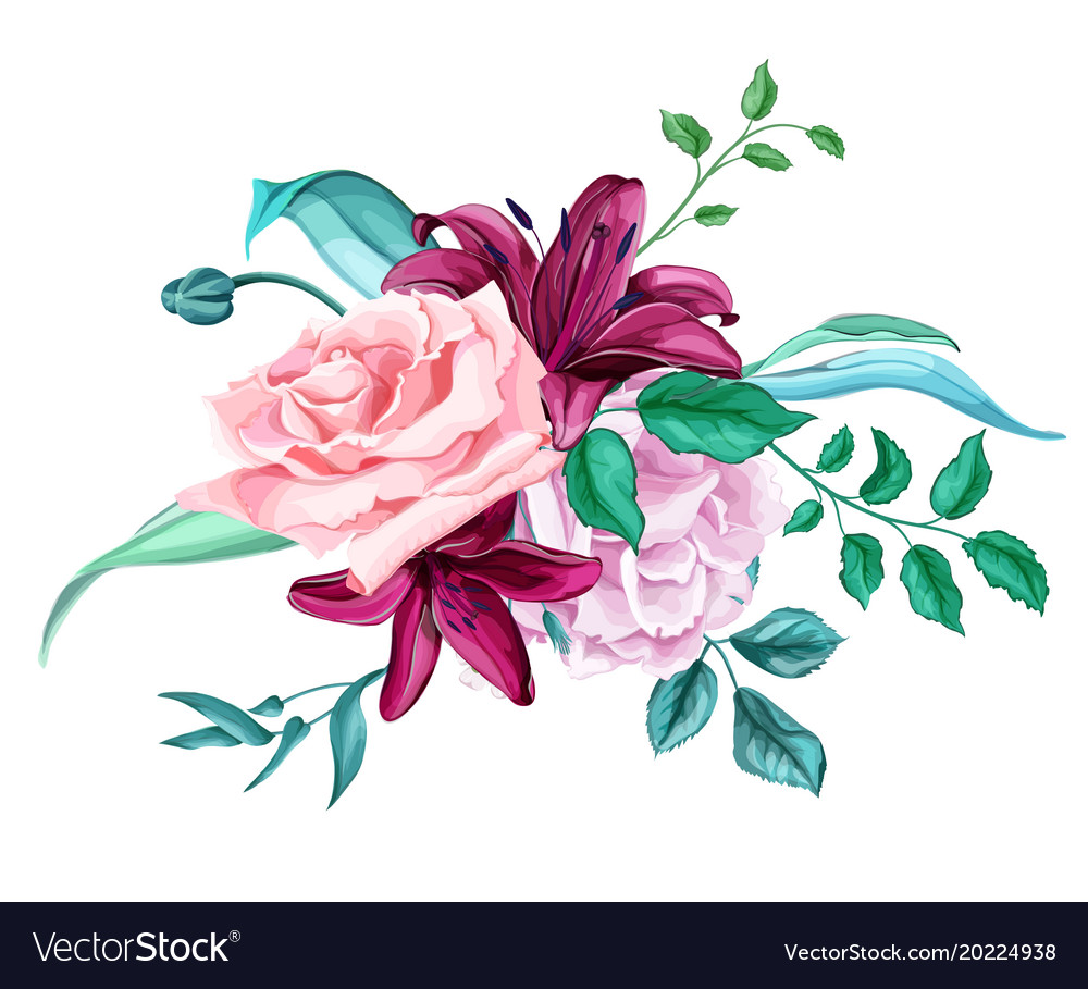 Roses and lilys clipart vector free library Rose lily flower leaves bouquet pattern vector free library