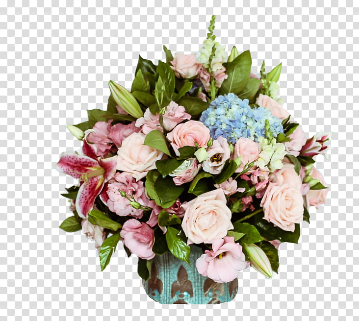Roses and lilys clipart clipart royalty free stock pink roses, pink lilies, and blue hydrangeas bouquet ... clipart royalty free stock