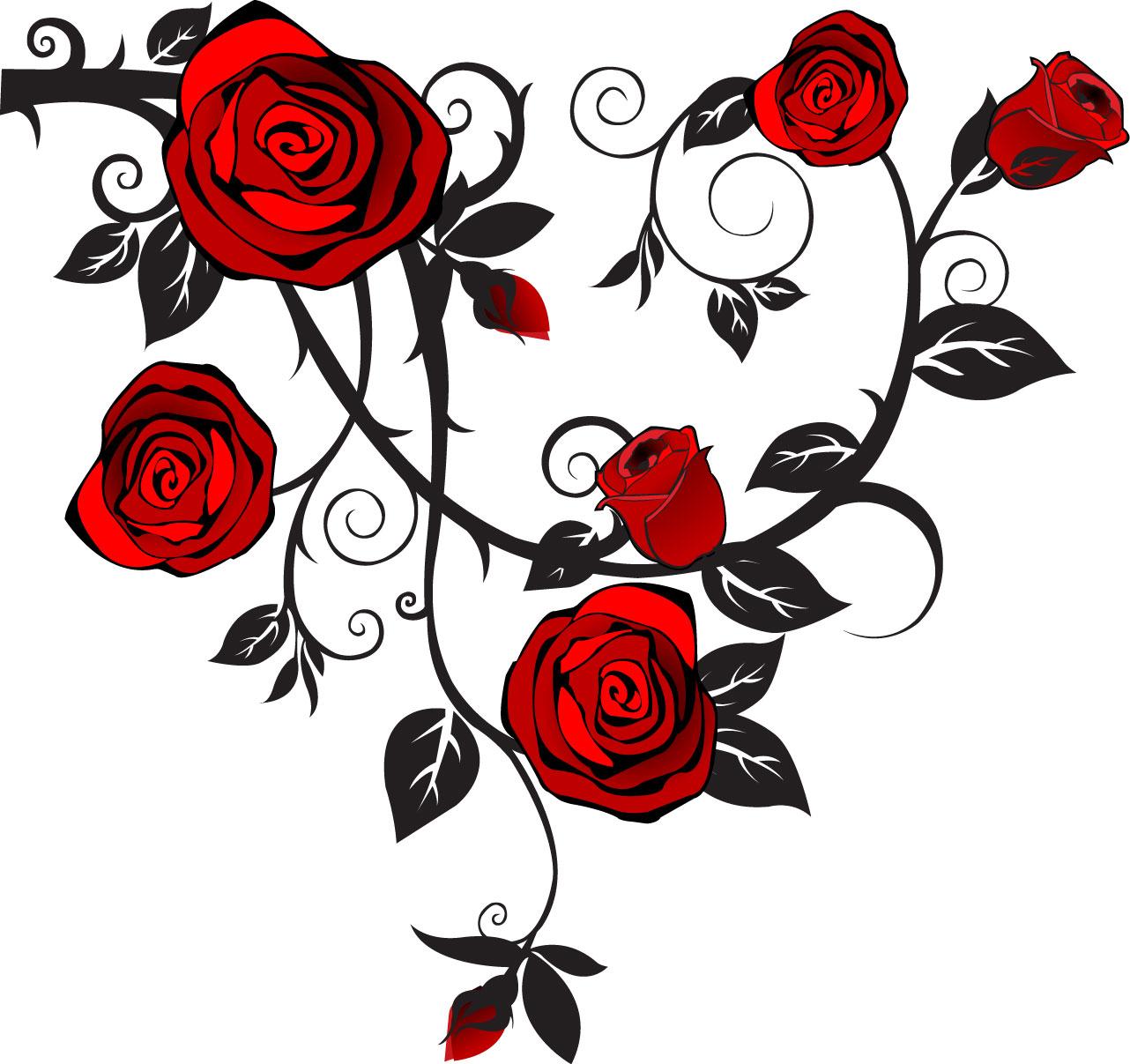 Rosevine clipart vector transparent stock Rose Vine Clip Art free image vector transparent stock