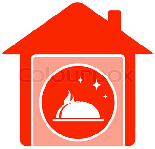 Rotes haus clipart black and white stock Essen-Icon mit Chef-Hut und Küche-utensil | Vektorgrafik | Colourbox black and white stock
