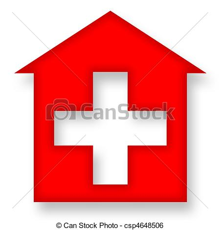 Rotes haus clipart picture black and white download Stock Illustration von haus, Kreuz, rotes - Medizin, Ikone, mit ... picture black and white download