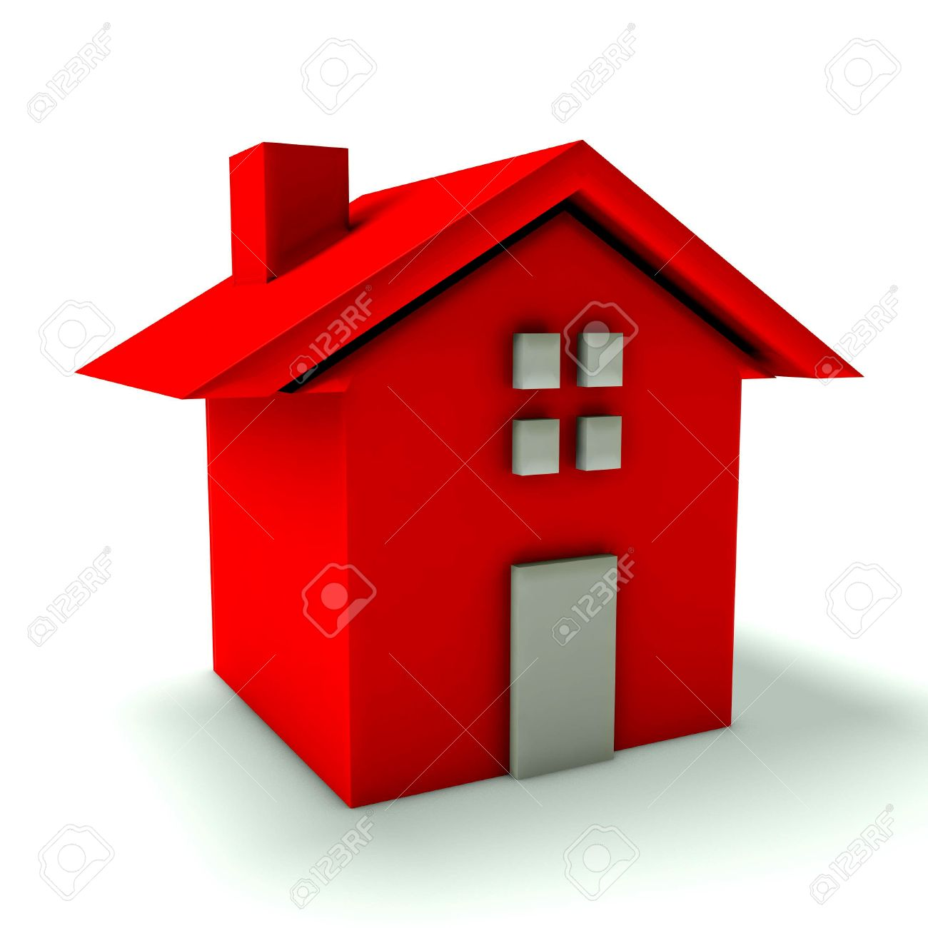 Rotes haus clipart free stock Rotes Haus Mit Tür Und Fenster Lizenzfreie Fotos, Bilder Und Stock ... free stock