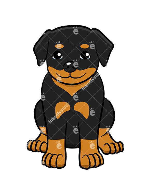 Rotweilers clipart banner freeuse download Little Rottweiler Puppy Sitting Cartoon Clipart Vector ... banner freeuse download