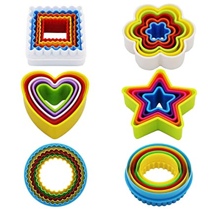 Round biscuit cutters clipart clipart free stock Cookie Cutter Set Plastic Cookie Cutter Shapes Biscuit Cutters (Star Flower  Round Square Heart Shapes) Bpa-Free Colorful Set of 25 by KAISHANE clipart free stock