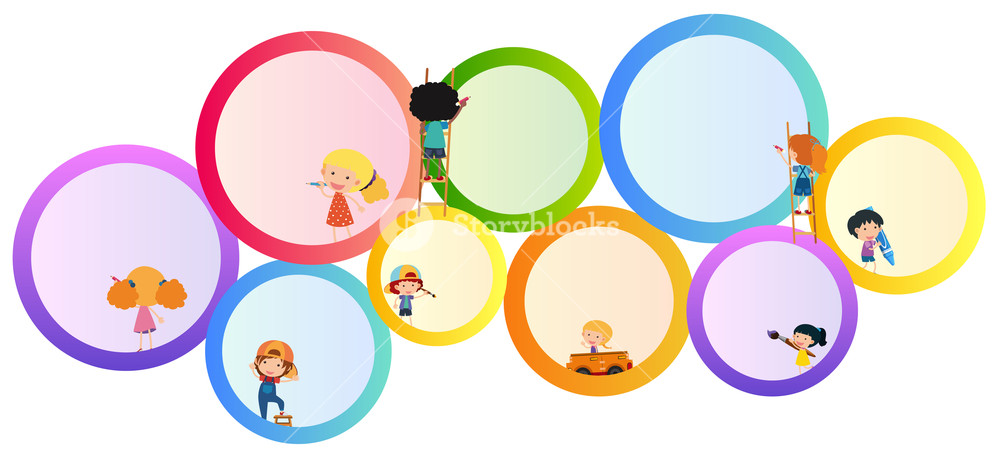 Round border clipart for kids royalty free library Border template with kids and round frames Royalty-Free ... royalty free library