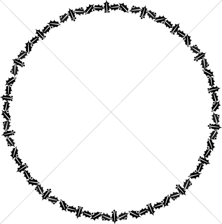 Round border clipart for kids svg Circular Holly Border in Black and White | Christian ... svg