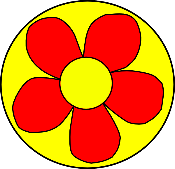 Round flower clipart clip art download Red Flower With Yellow Background Clip Art at Clker.com - vector ... clip art download