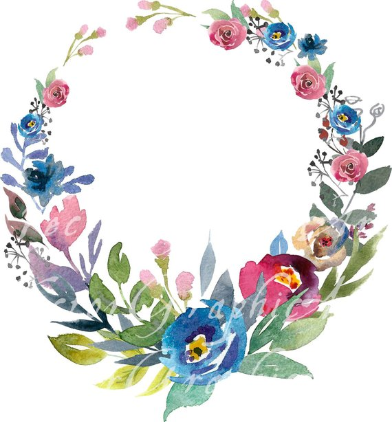 Round flower design clipart clip art transparent library Floral Round Frame. Watercolor floral clipart - 1 Frame + ... clip art transparent library