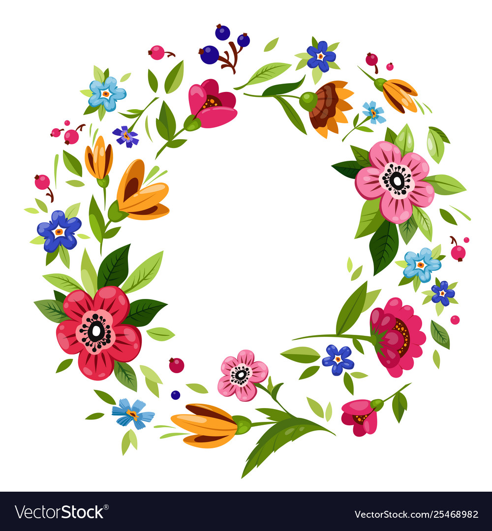 Round flower design clipart clip freeuse stock Round flower frame for invitationt-shirt design Vector Image clip freeuse stock