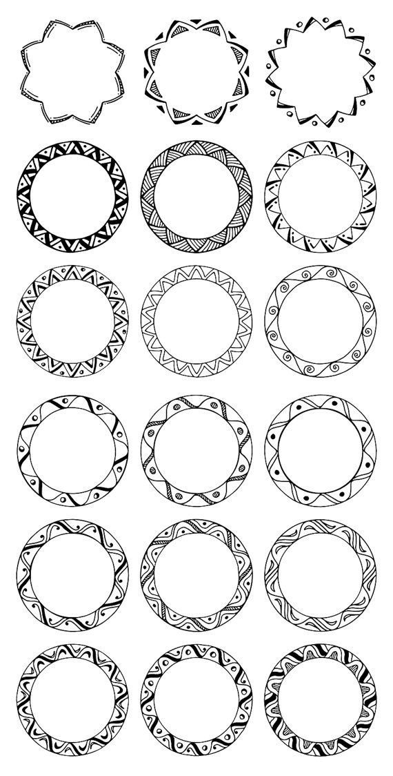 Round picture frame clipart image black and white download 36 Hand Drawn Decorative Round Frames, Circle Borders ... image black and white download