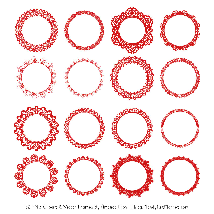 Round red picture frame clipart for text banner library stock Red Round Digital Lace Frames Clipart banner library stock