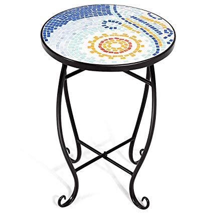 Round tea table clipart clip art freeuse stock Amazon.com: Outdoor Patio Colored Glass Top Round Accent ... clip art freeuse stock