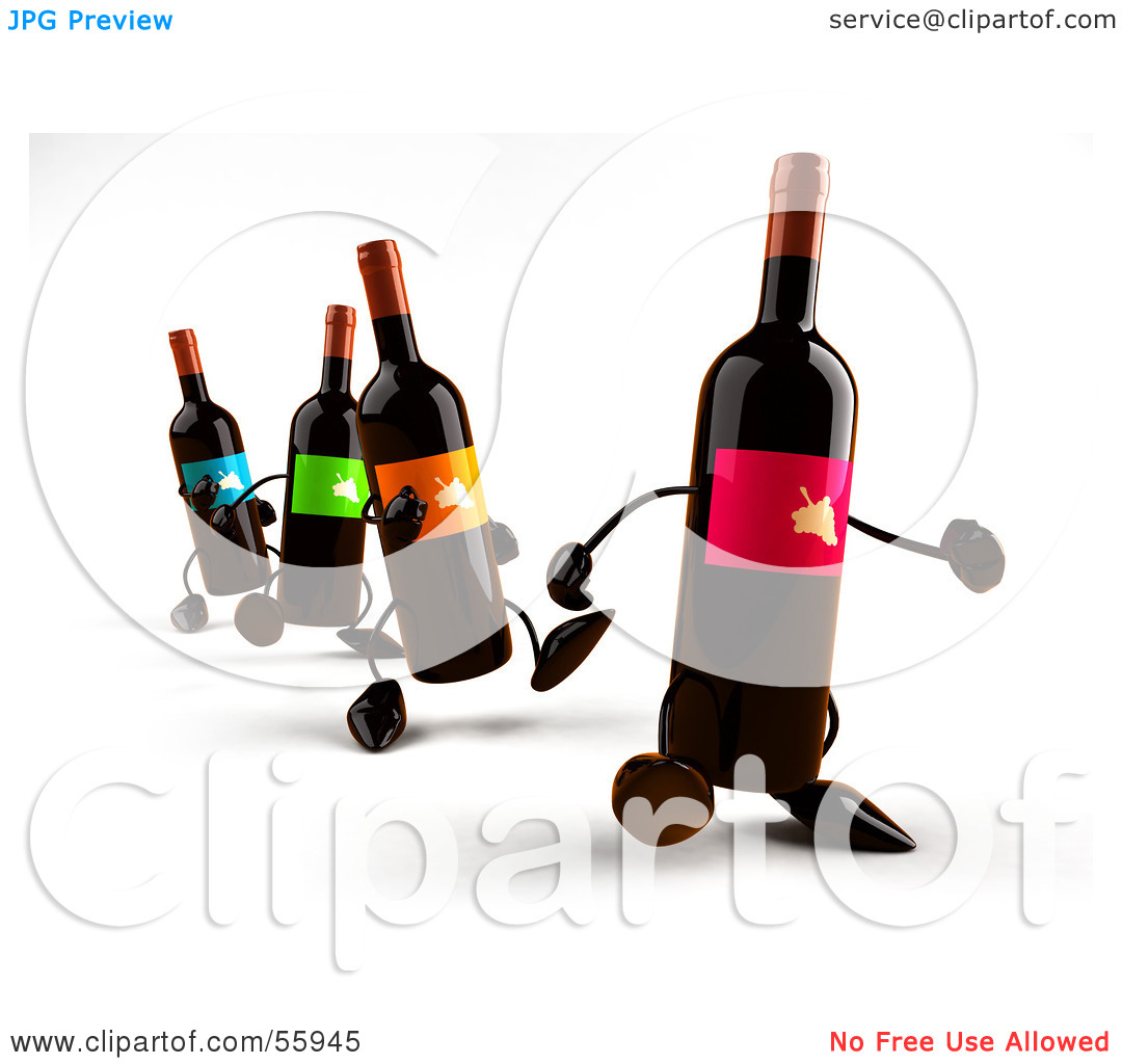 Row 1 clipart jpg transparent library Royalty-Free (RF) Clipart Illustration of a Row Of 3d Wine Bottle ... jpg transparent library