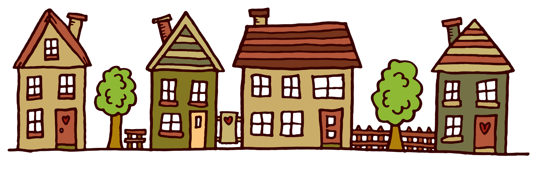 Row house clipart graphic library Row Of Houses Clipart - Clipart Kid graphic library