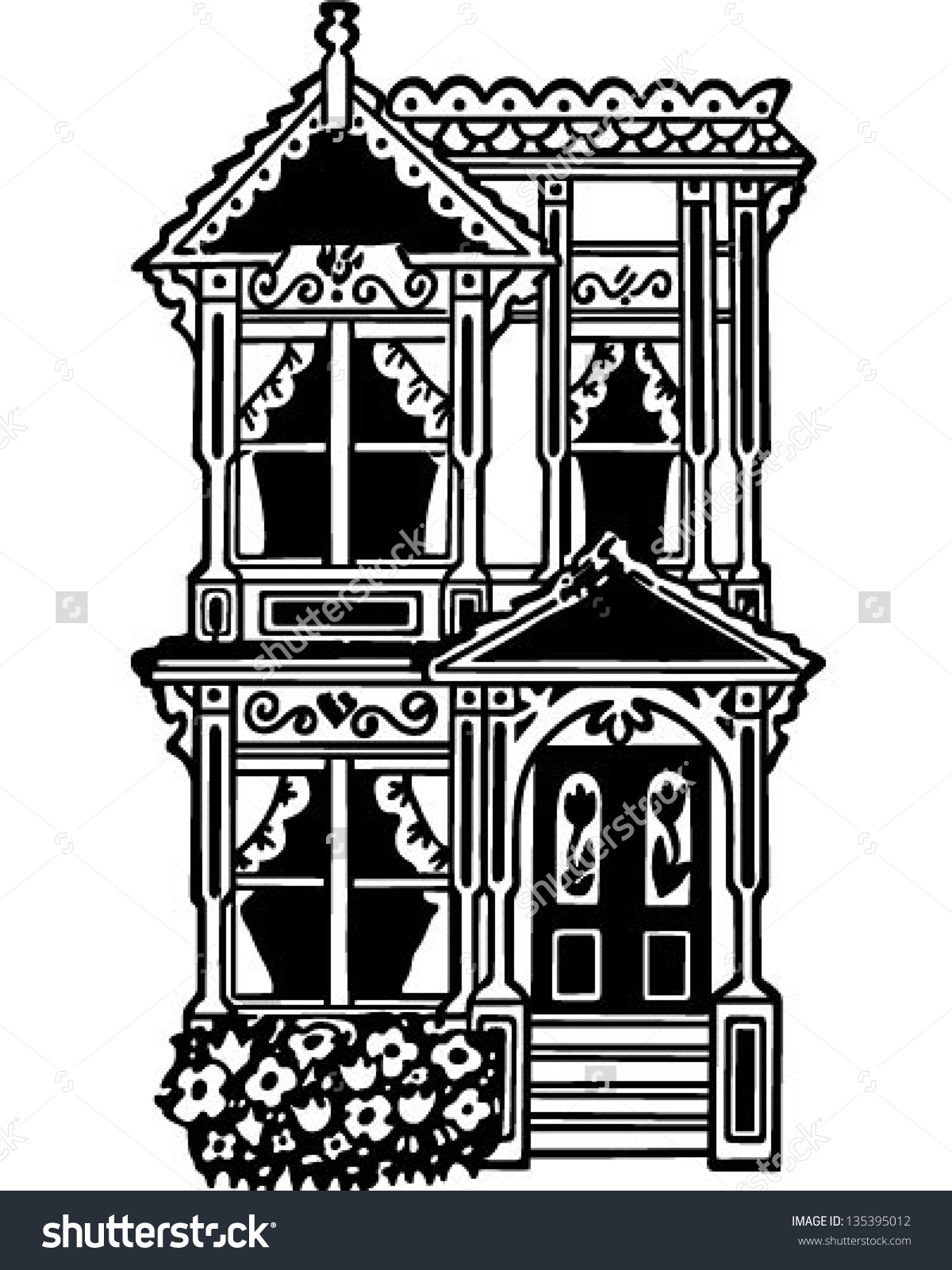 Row house clipart png freeuse download Victorian Row House Retro Clip Art Stock Vector 135395012 ... png freeuse download