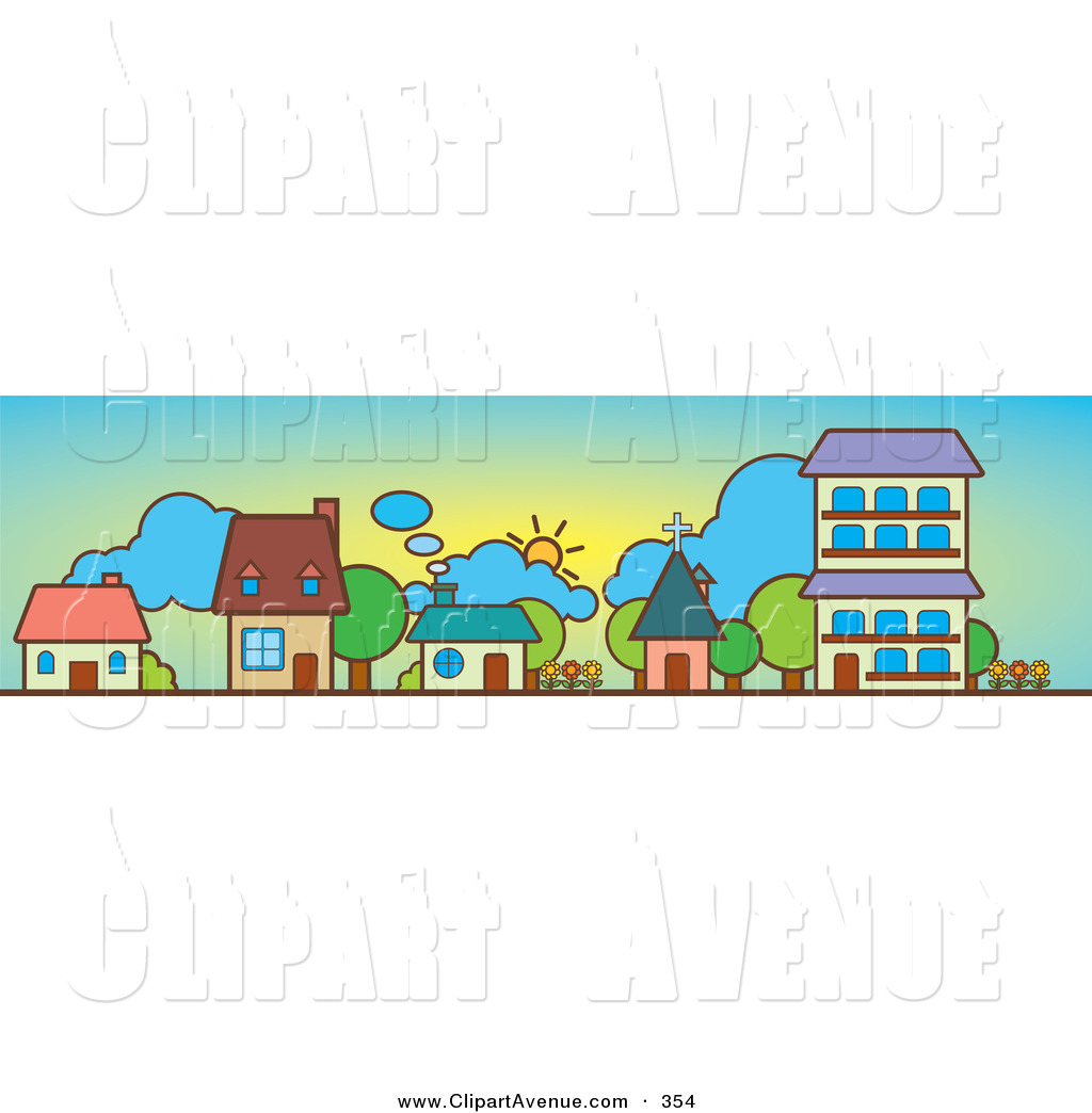 Row house clipart banner black and white download Little Houses In A Row Clipart - Clipart Kid banner black and white download