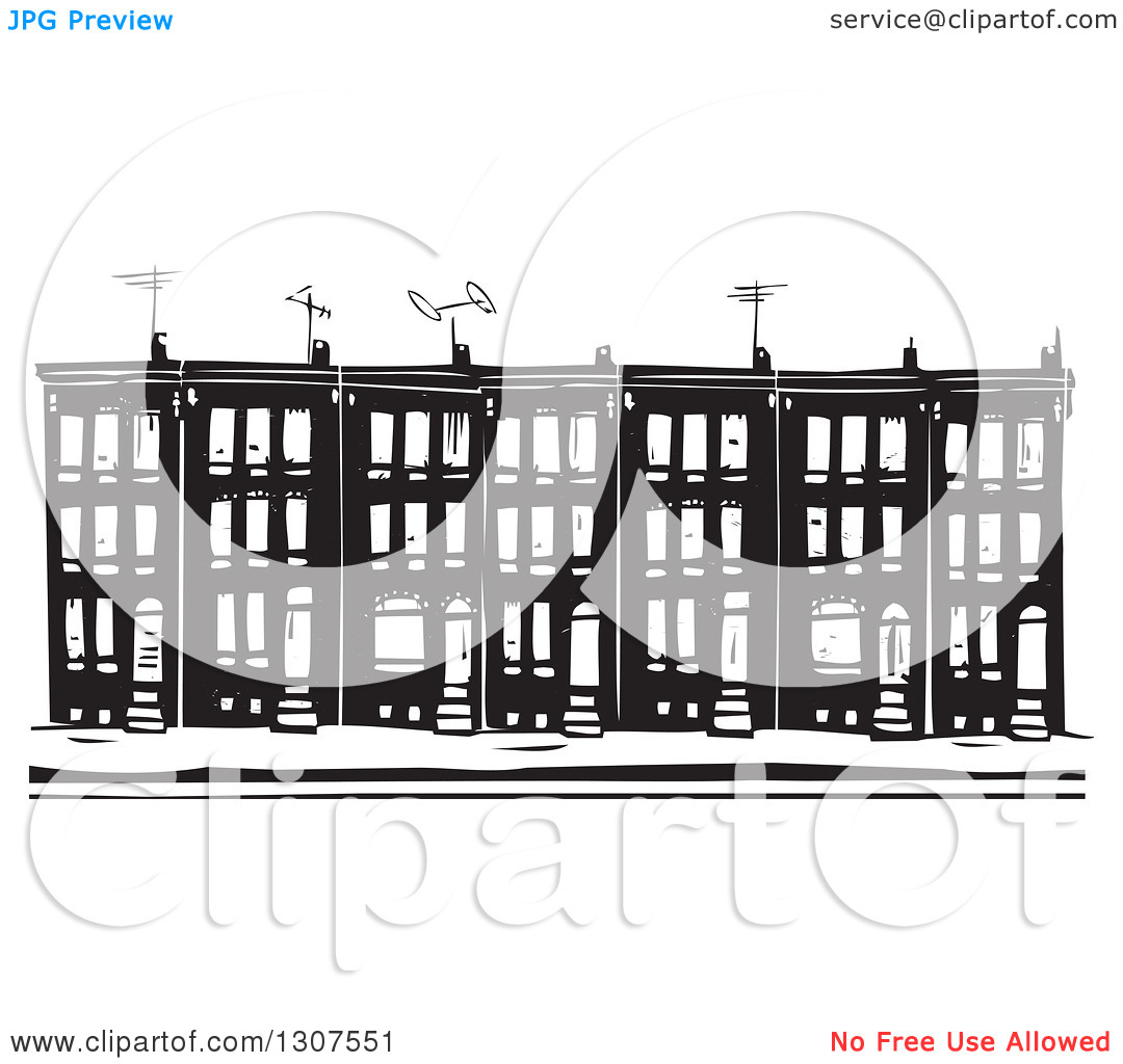 Row house clipart vector freeuse Row house black and white clipart - ClipartFest vector freeuse