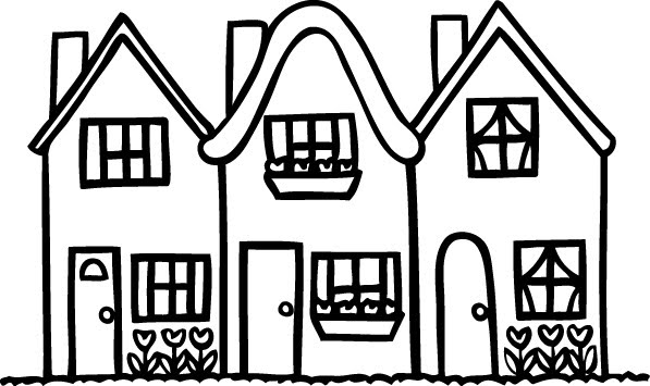 Row house clipart clip art black and white library Row Of Houses Clipart - Clipart Kid clip art black and white library