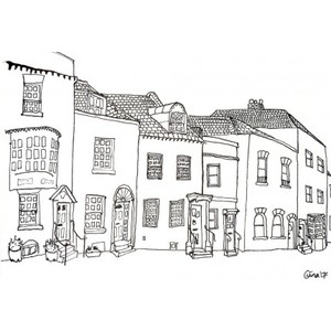 Row houses clipart svg free library Row house black and white clipart - ClipartFest svg free library
