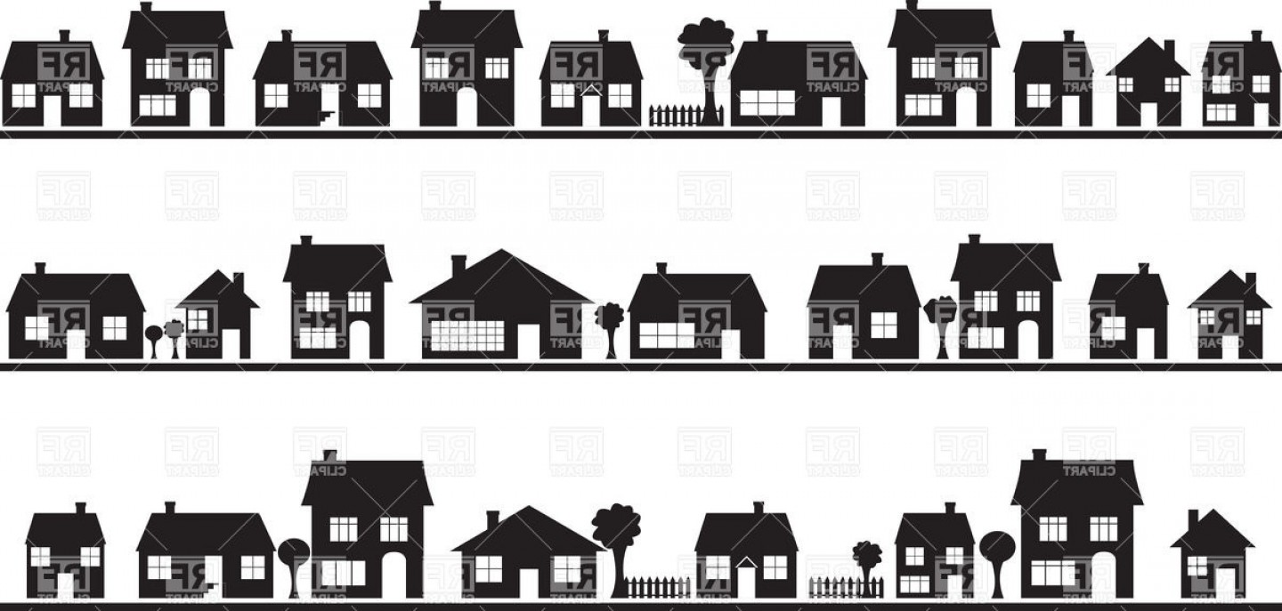Row houses clipart clipart black and white library Best Row House Silhouette Vector Image | Vectory clipart black and white library