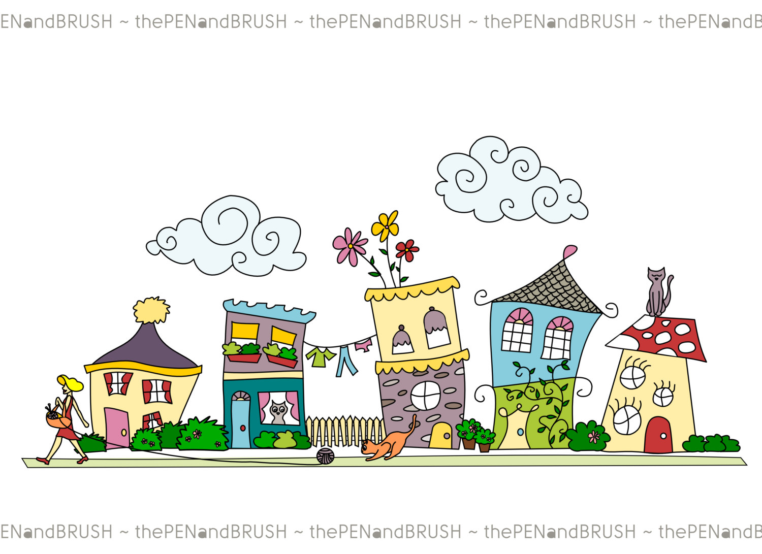 Row houses clipart png black and white download Houses in a row clipart - ClipartFest png black and white download