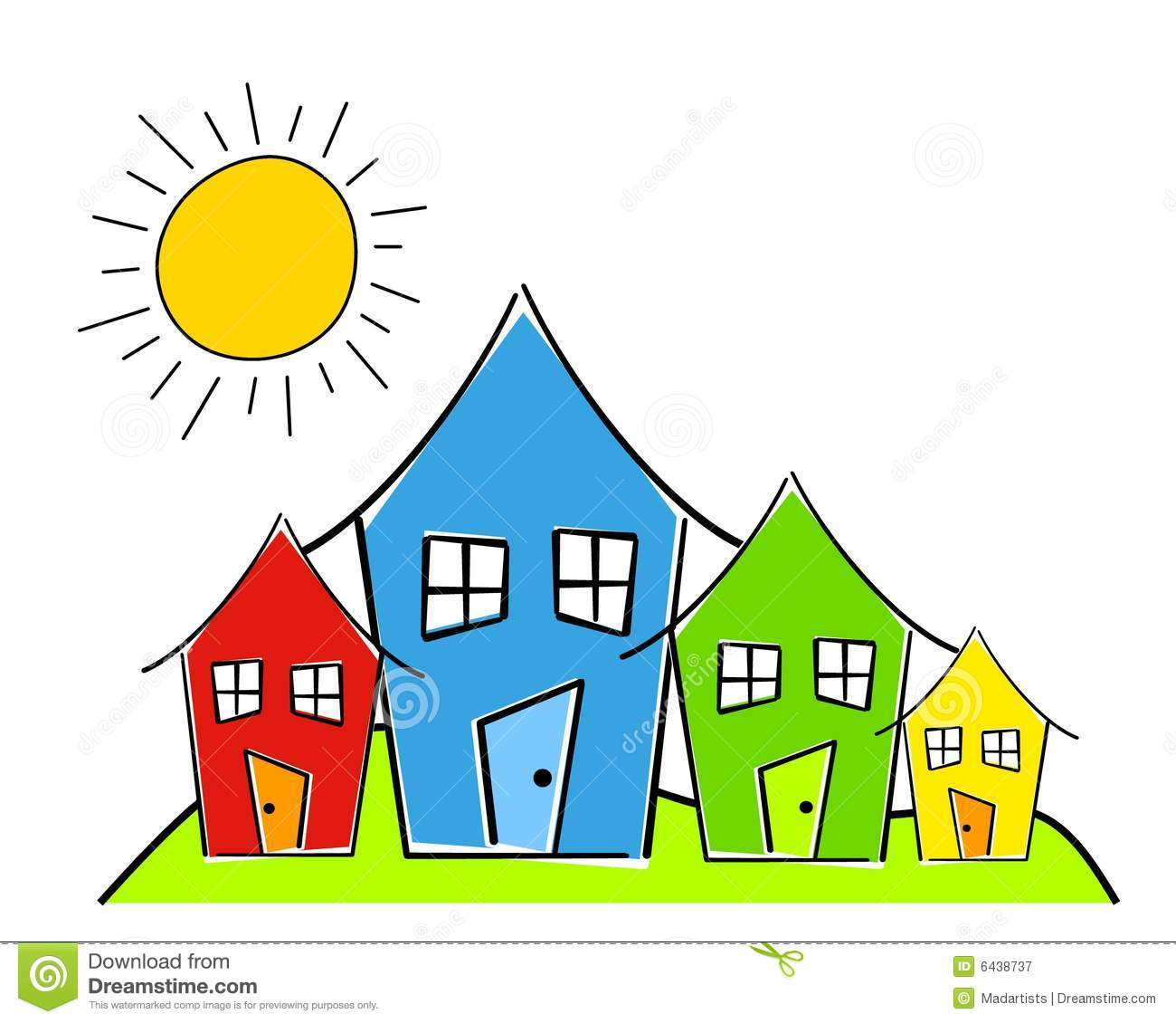 Row houses clipart clip art freeuse Childlike Row Of Houses Royalty Free Stock Photography - Image ... clip art freeuse