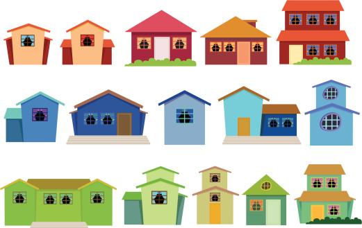 Row houses clipart