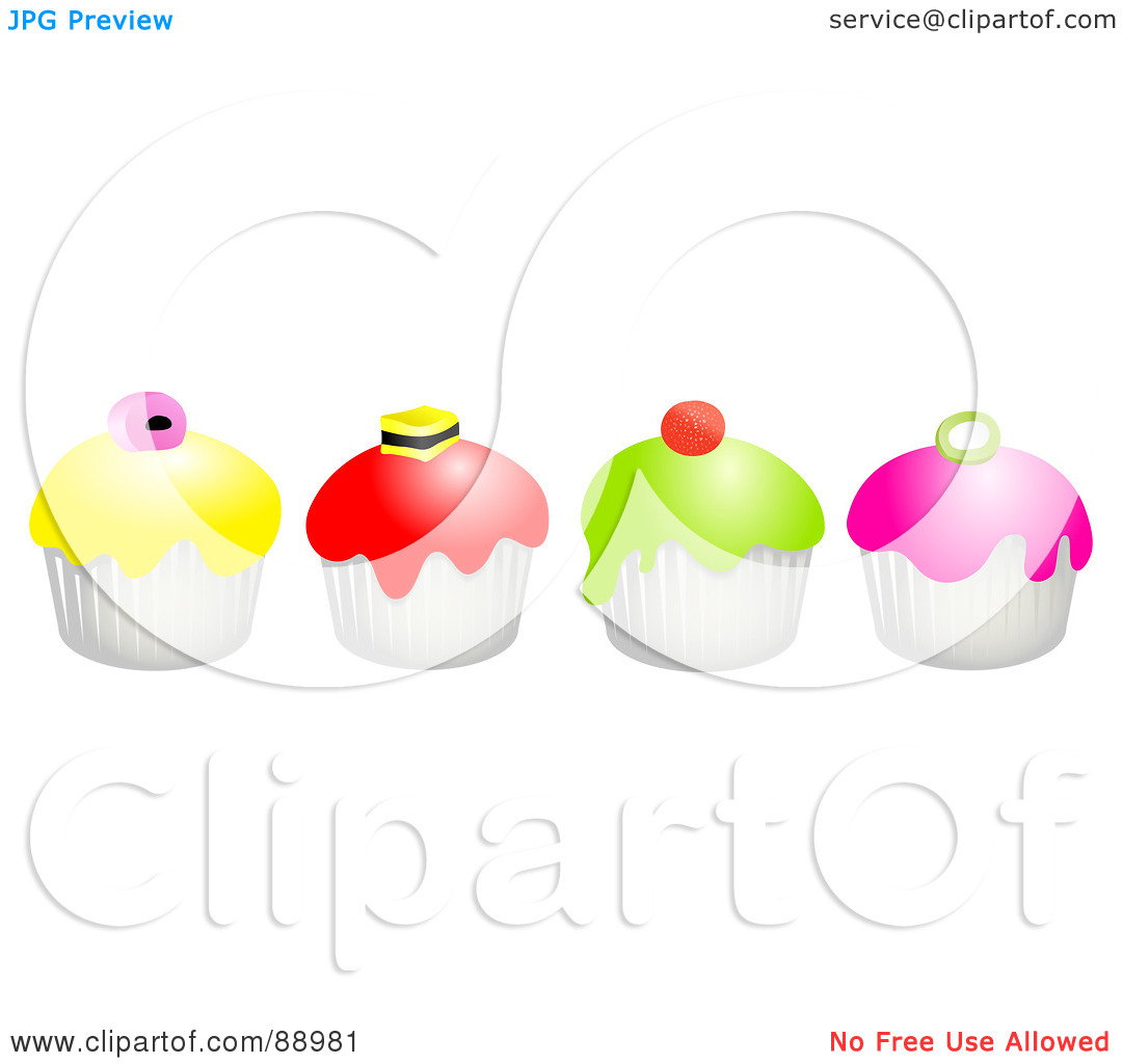 Row of cupcakes clipart picture library stock Royalty-Free (RF) Clipart Illustration of a Row Of Colorful Candy ... picture library stock