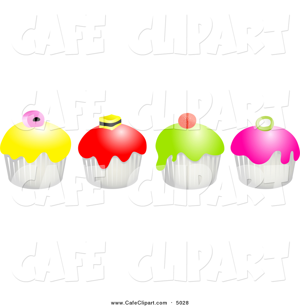 Row of cupcakes clipart jpg black and white library Clip Art of a Row of Colorful Cupcakes by Prawny - #5028 jpg black and white library