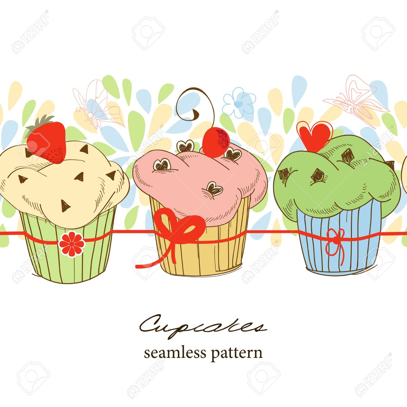 Row of cupcakes clipart picture freeuse stock Cute Fruit Cupcakes Seamless Pattern Royalty Free Cliparts ... picture freeuse stock