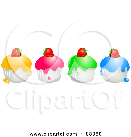 Row of cupcakes clipart svg royalty free stock Royalty-Free (RF) Clipart Illustration of a Row Of Colorful ... svg royalty free stock