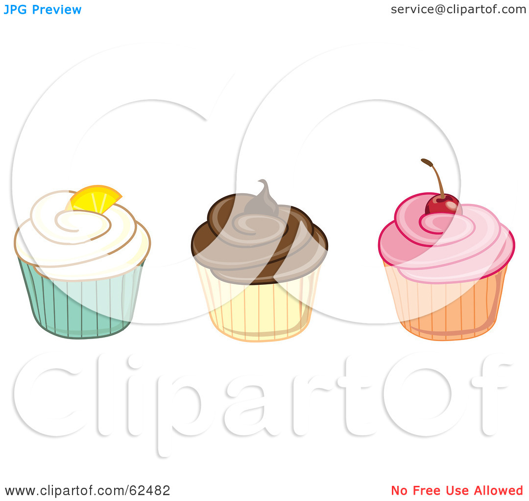 Row of cupcakes clipart clip black and white stock Royalty-Free (RF) Clipart Illustration of a Row Of Vanilla ... clip black and white stock