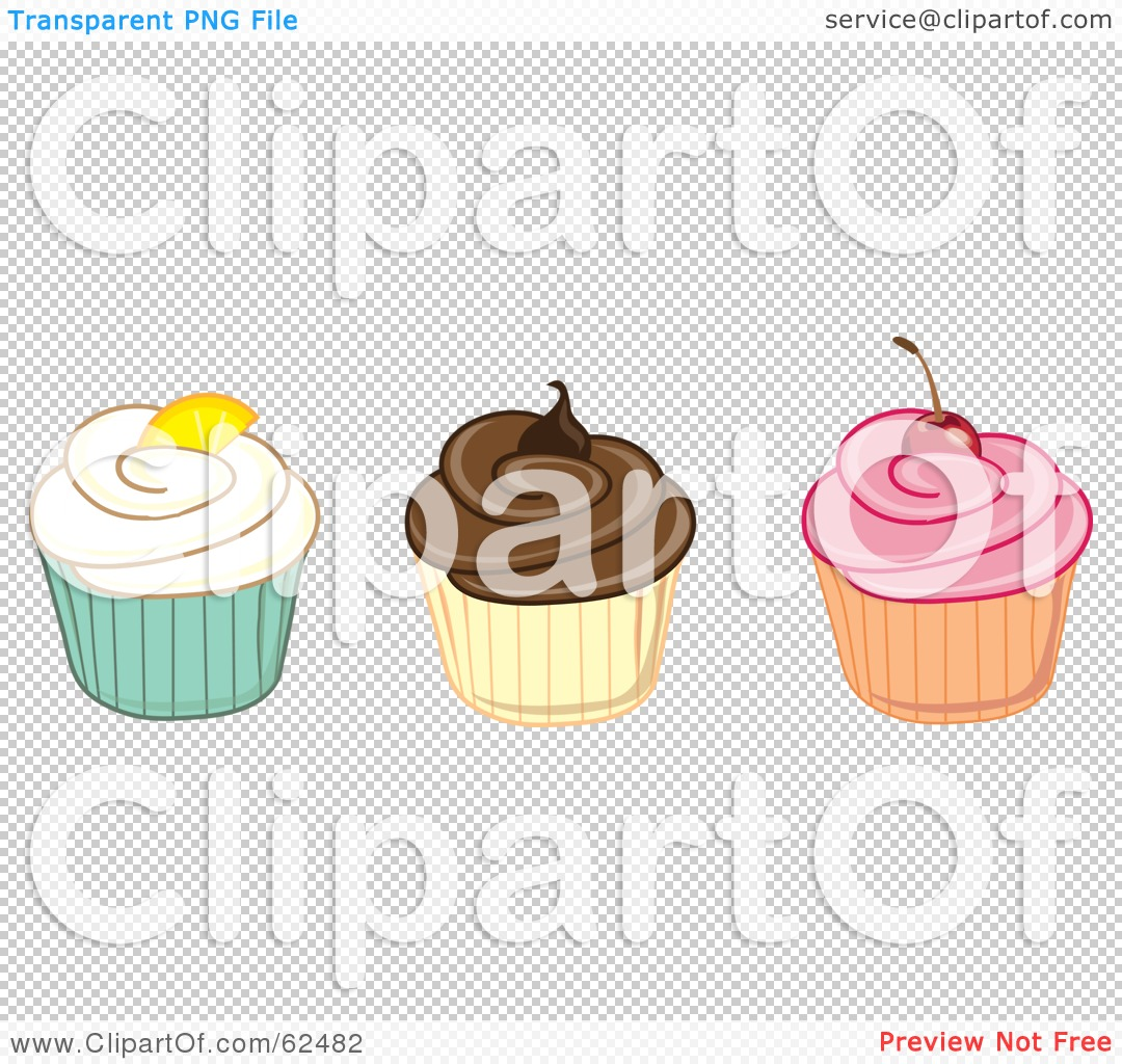 Row of cupcakes clipart clip black and white library Royalty-Free (RF) Clipart Illustration of a Row Of Vanilla ... clip black and white library