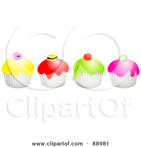 Row of cupcakes clipart picture download Royalty-Free (RF) Clipart Illustration of a Row Of Colorful ... picture download